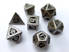 Thoroughly Modern Dice Set with Decader 3d printed In Stainless Steel