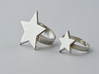 Silver Star Ring (Size M) 3d printed Ring on the right (shown in silver)