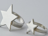 Silver Star Ring (size M) 3d printed Ring shown on left in image