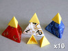 Tetrahedron Capstones (x10) 3d printed Capstones shown in position on Kemet dice.