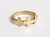 Triple Plus Ring 3d printed Gold Plated Brass