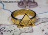 Ring - Triforce of Power 3d printed Gold-Plated Brass