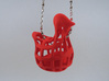 Chicken before Egg - Pendant 3d printed Coral Red Strong & Flexible Polished