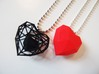 Heart Facet Pendant 3d printed Red solid heart + Black wireframe version