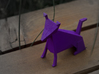 Folded Sculpture Dogs, Shetland Sheepdogs 3d printed Strong flexible plastic in purple, overall view