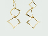 Twisted squares earrings 3d printed In Polished Brass