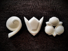 Spiritual Stones 3d printed 3X hollowed plastic stones, all about 1in. wide. Inspired by Zelda Ocarina of Time - Printed in Smooth White Strong Plastic