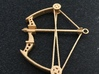 Compound Bow Pendant 3d printed Compound Bow Pendant in Polished Gold Steel