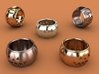 Pumpkin Ring 19mm 3d printed Stainless steel, gold plated mate & premium silver renderings