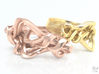Weaving Ribbons Ring 3d printed Rose Gold & Gold