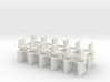 HO Slot Car AFX to Scalextric Guidepin Adapter 3d printed Set of 12 guidepin adapters shown in White Strong & Flexible