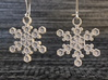 "Crystal Snowflake Earrings 3d printed Pair of ""Crystal"" Snowflake Earrings in Metallic Plastic"