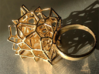 Voronoi Cube Ring (Size 8.5) 3d printed Photo of polished brass