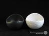 Porcelain Plant-pot in Golfball-Look (large round) 3d printed Matte Black and Gloss White - Size large