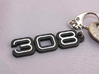 KEYRING LOGO 308 BLACK W INSERTS 3d printed Keychain with the Ferrari 308 logo, in Black Steel with white plastic inserts