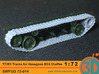 T72E1 tracks for Hasegawa M24 Chaffee 1/72 scale S 3d printed FUD test print painted grey, hasegawa M24 not included