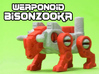 BisonZooka Transforming Weaponoid Kit (5mm) 3d printed White strong and flexible print, hand painted.