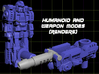 "Diaclone Datson Specialist Weaponoids (5mm) 3d printed Render of ""Tyr Guas"" figure in both modes"
