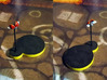 Ladybug 3d printed Model hand-painted, after assembly and quick filing. Front and back views (game board with flagstones copyright Plaid Hat Games).