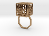 Carved Cube Ring (L) Size 7 3d printed