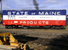"""""""State of Maine""""-style HO Charcoal Heater Kit 3d printed An overall view of a preserved prototype State of Maine boxcar, and its heater box, in New Hampshire."""