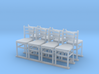 Wooden chairs  7. O Scale (1:48) 3d printed