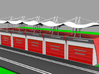 Garage for Slotcar Track (1/43) 3d printed Example with tent / roof and shutter / door