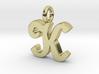 K - Pendant - 2mm thk. 3d printed
