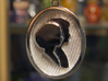 Wedding Cameo Pendant Of Meighan & Chris 3d printed Front of Cameo Pendant.  Silhouette of My Fiance & Me!