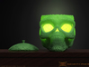 Day of the Dead/ Halloween Glow Skull Lantern 8cm 3d printed Green Plastic Polished Example (Tea-Light Candle/ Led not included)