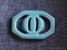 Buckle for material belt in porcelain 3d printed Gloss Blue Porcelain