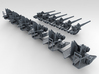 "1/192 4.7"" /40 (12cm) QF Mark VIII x6 No Shields 3d printed 3d render showing set"