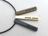 Personalized Bar Pendant 3d printed Polished bronze steel, polished brass, polished grey steel