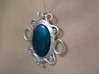 Oval stone pendant 3d printed Being worn