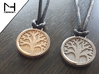 Tree of Life Pendant 3d printed Raw Bronze & Polished Nickel Steel