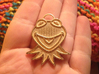 Gold Kermit Pendant 3d printed Actual print in polished gold steel