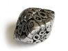 Art Nouveau Decader d10 3d printed In Polished Nickel Steel and inked