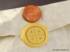 Shield Knot Wax Seal 3d printed Just the wax impression, with penny for scale