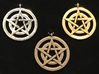 Pentacle Pendant - Circles 3d printed Pentacle circles pendants. Clockwise from upper left: rhodium-plated, 14K gold plated, stainless steel.