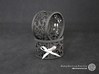 Set of 4 large Christmas napkin rings with Stars 3d printed The photo shows prints made of black strong and flexible incl. silver lacing.