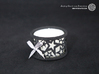 Set of 2 small tealight holders with Stars 3d printed The photo shows a print made of black strong and flexible incl. silver lacing and a high 8h tealight candle.
