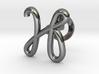 Cursive H Cufflink 3d printed