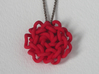 Geometric Flower Knot Pendant  3d printed Coral Red
