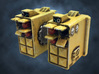 Dreadnought Missile launcher arms, customizable 3d printed Front view (painted)