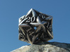 Celtic D20 3d printed Printed in Raw Silver and Inked
