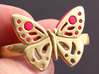 DOUBLE RING BUTTERFLY 3d printed Double ring with butterfly in Polished Bronze with plastic inserts -sold separately-.