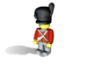 Gordon Scots hat 3d printed Example figurine wearing the helmet in black Hi-Def Acrylate