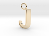 Letter J Key Ring Charm with decorative back holes 3d printed