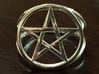 Pentacle ring - crossing 3d printed Pentacle ring in polished silver.