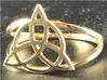 Triquetra ring 3d printed Triquetra ring in polished brass.